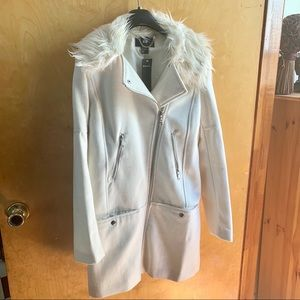 New H&M White faux fur Coat